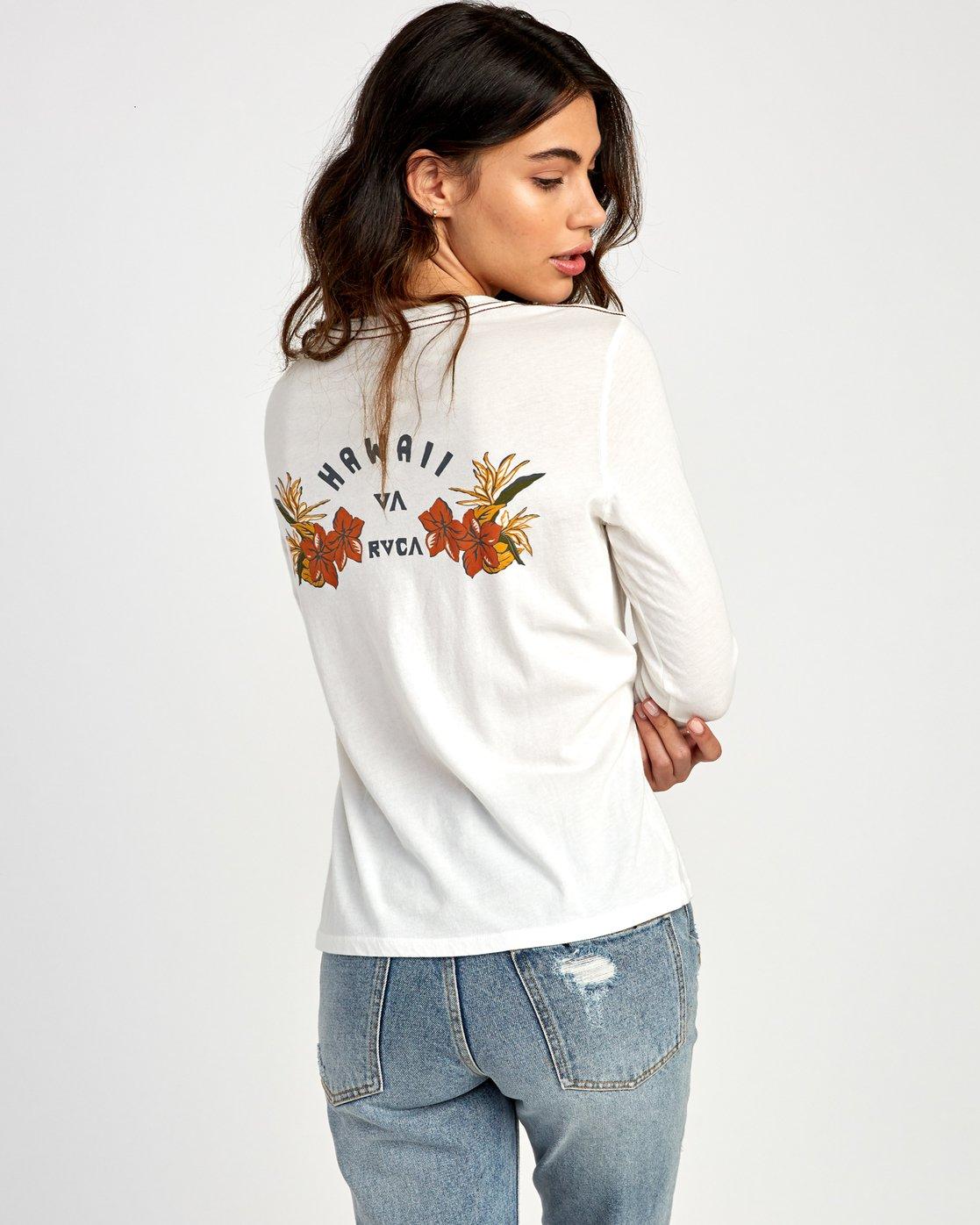 0 Paradise Long Sleeve T-Shirt White W468VRPH RVCA