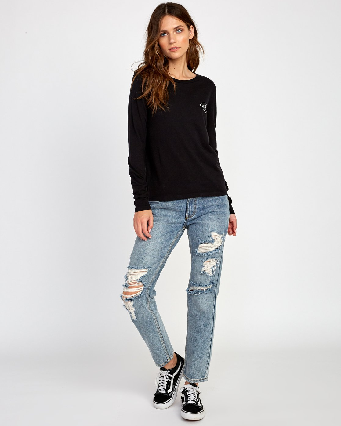3 Serpent Long Sleeve T-Shirt Black W468VRSE RVCA