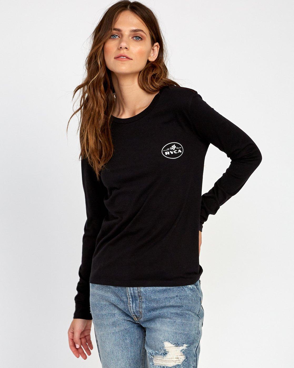 1 Serpent Long Sleeve T-Shirt Black W468VRSE RVCA