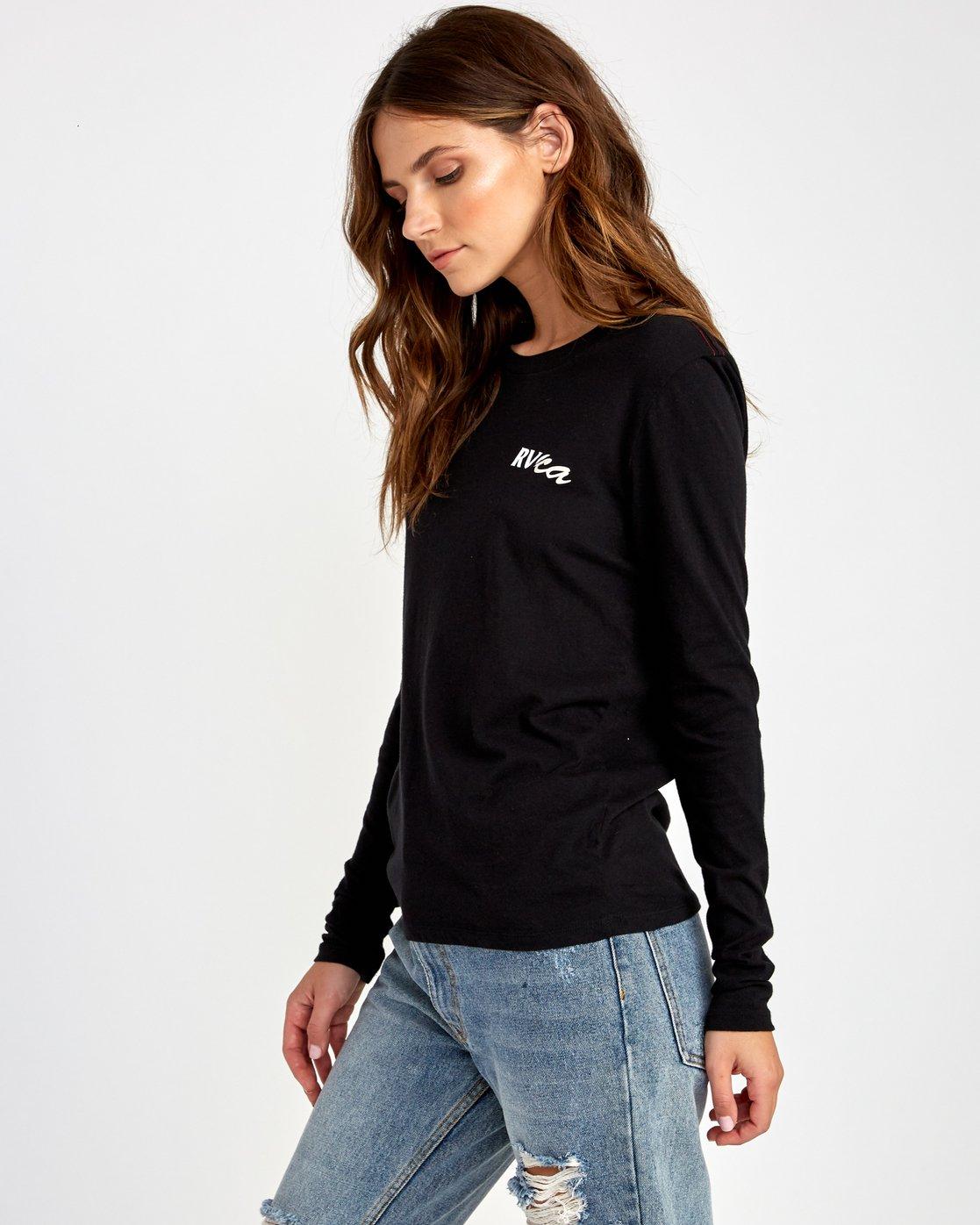 2 Teared Long Sleeve T-Shirt Black W468VRTE RVCA
