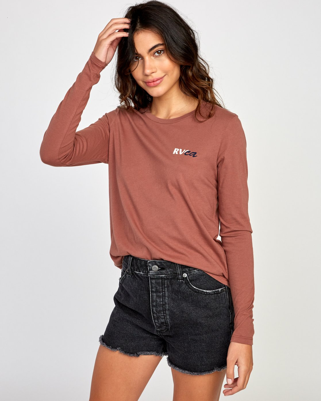 1 Teared Long Sleeve T-Shirt Brown W468VRTE RVCA