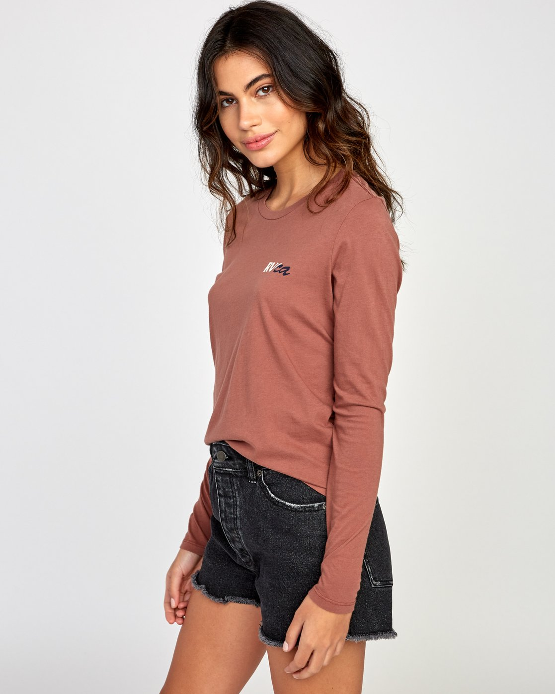 2 Teared Long Sleeve T-Shirt Brown W468VRTE RVCA