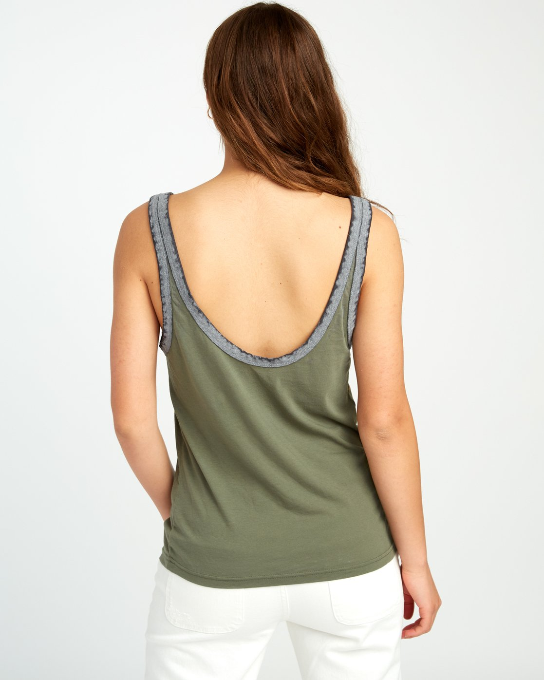 2 Another Stripe Ringer Tank Top Green W471URAN RVCA