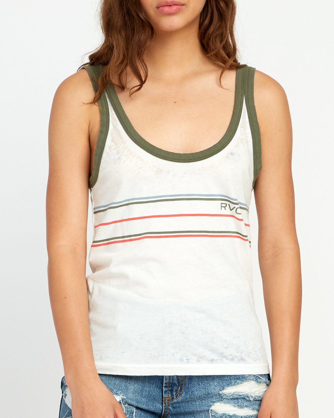 3 Another Stripe Ringer Tank Top White W471URAN RVCA