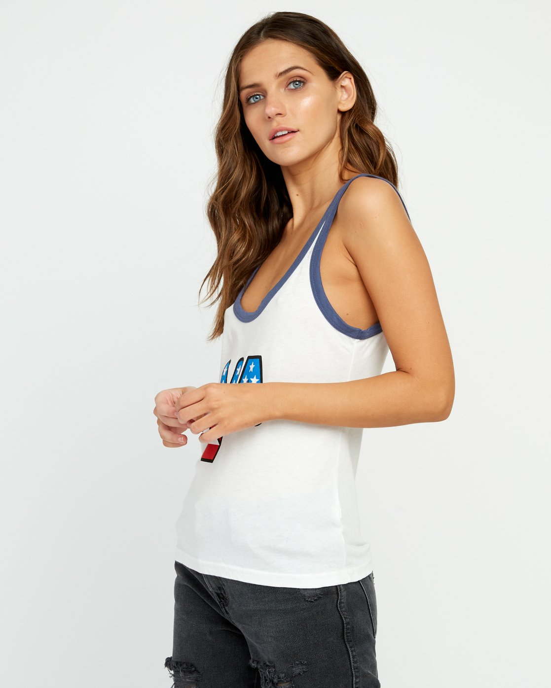 1 Peace Off Ringer Tank Top White W471URPE RVCA