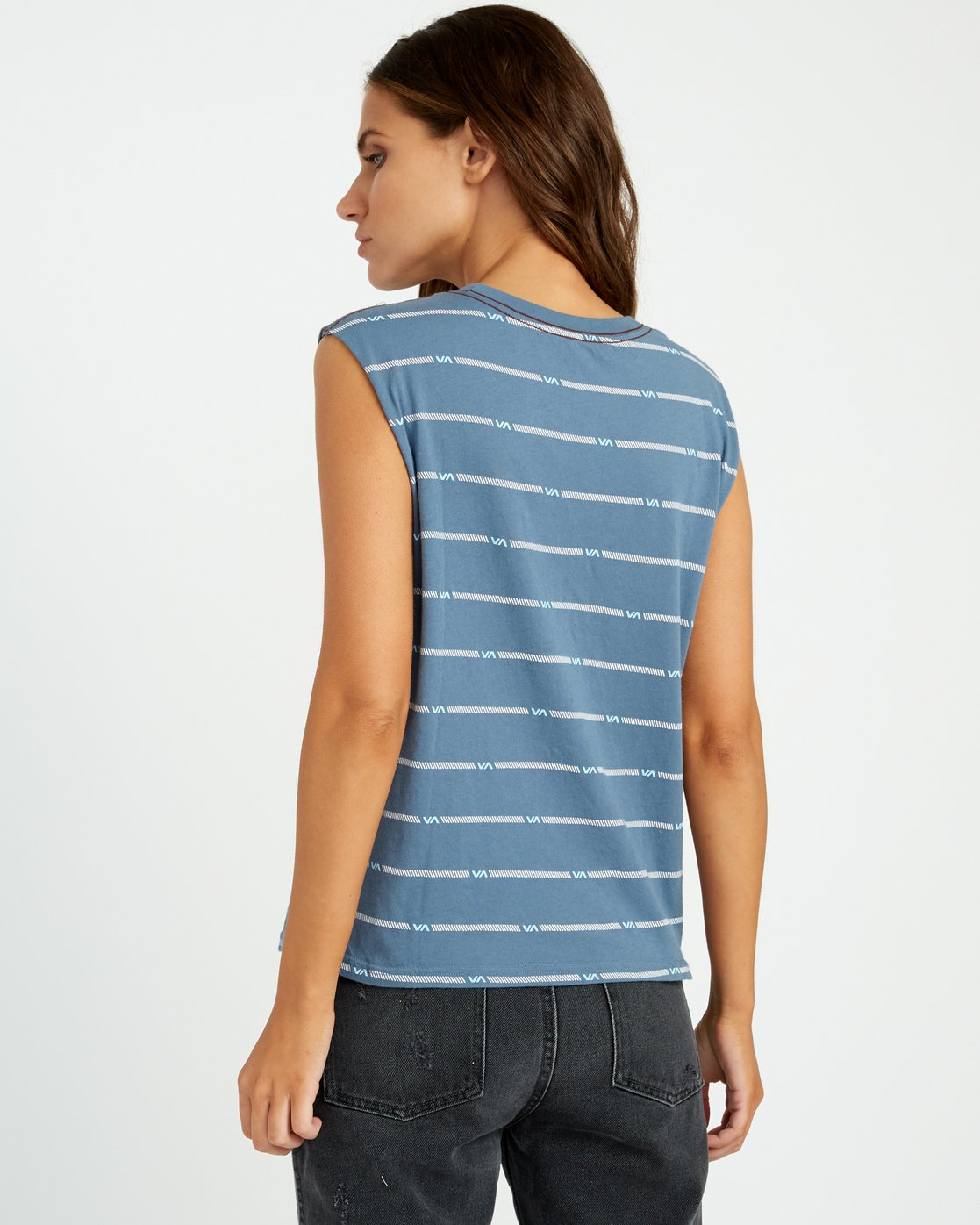 2 VA Striped Relaxed Muscle Tank Top Blue W473URVS RVCA