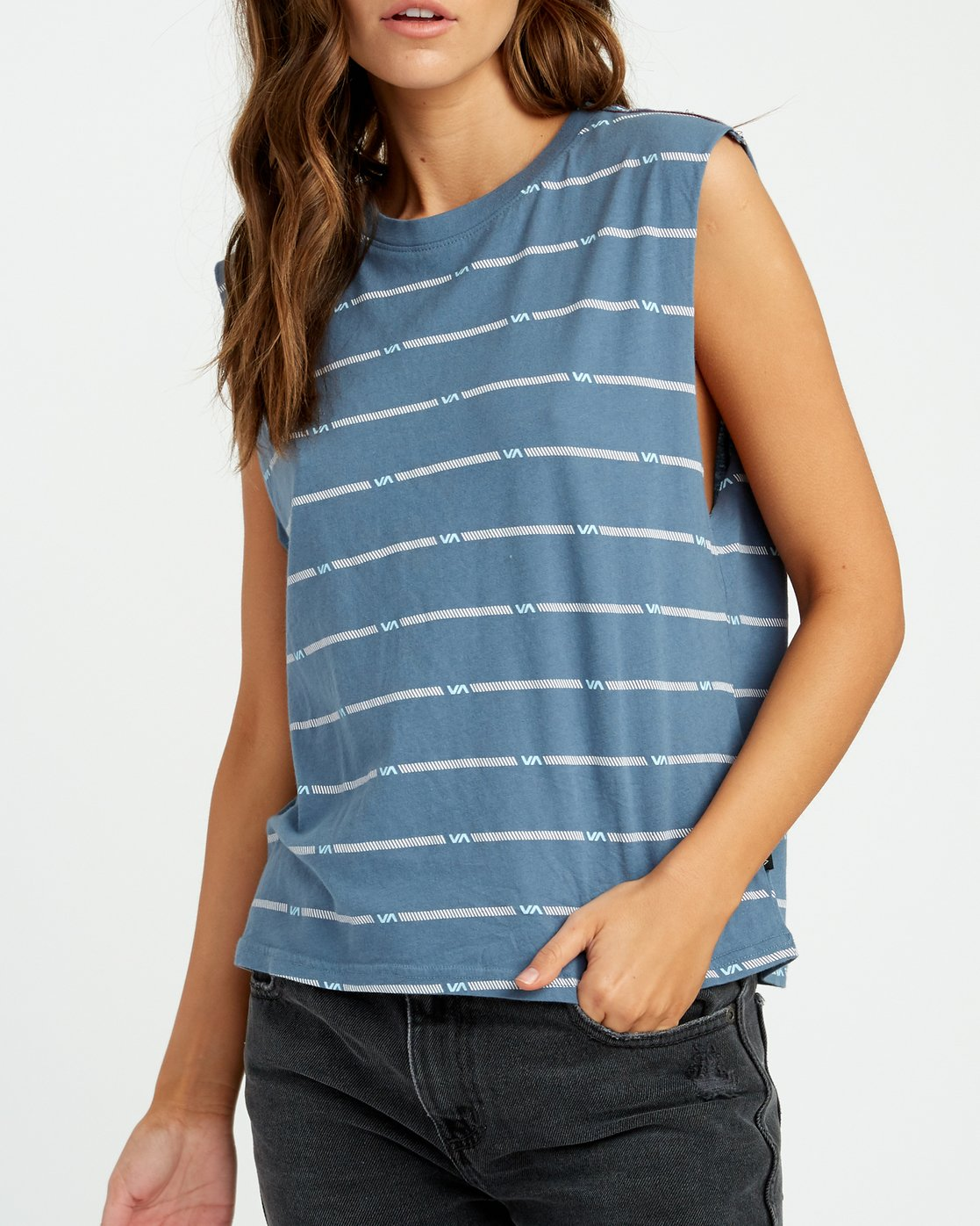3 VA Striped Relaxed Muscle Tank Top Blue W473URVS RVCA