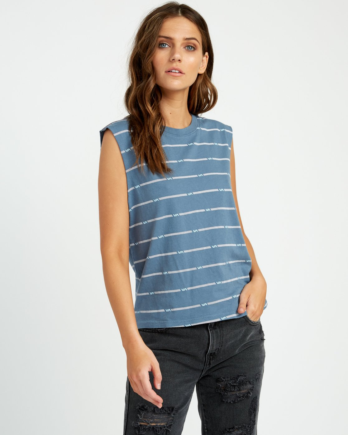 0 VA Striped Relaxed Muscle Tank Top Blue W473URVS RVCA