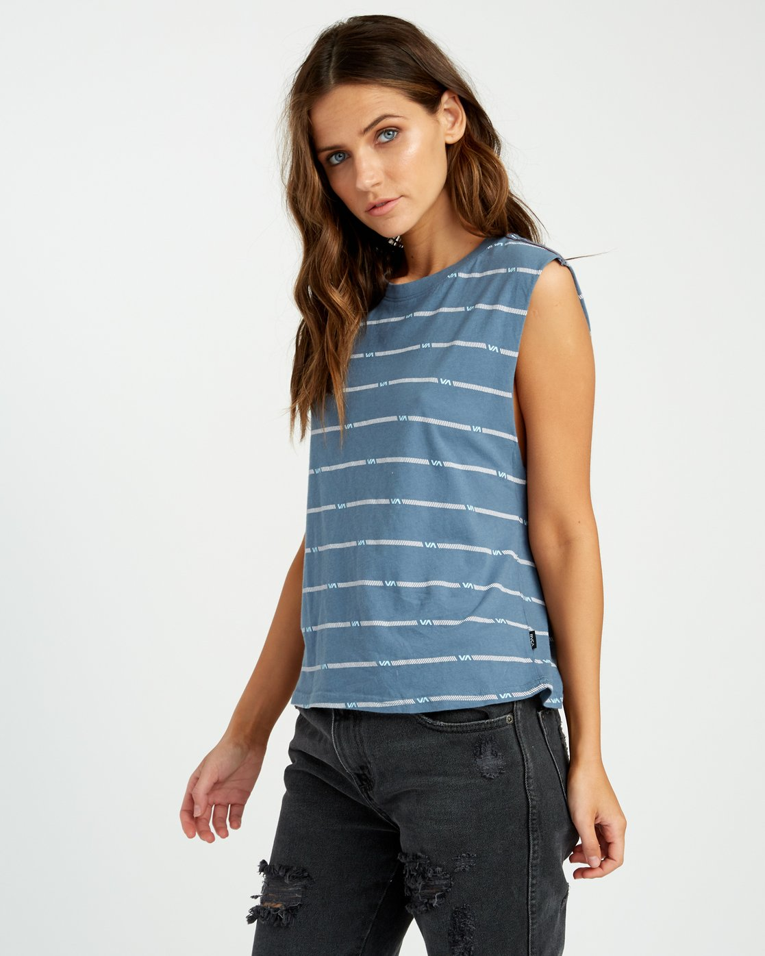 1 VA Striped Relaxed Muscle Tank Top Blue W473URVS RVCA