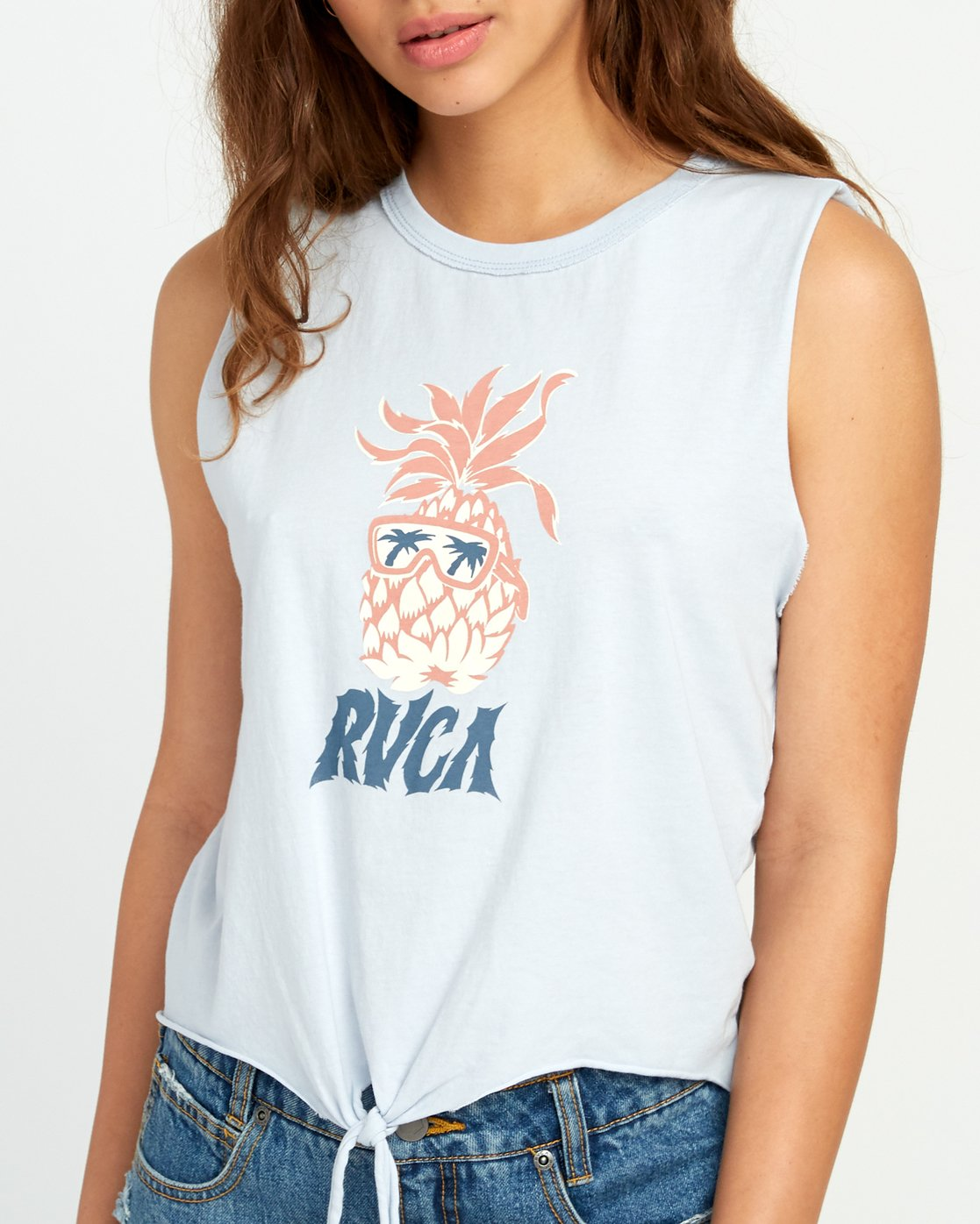 3 DMOTE Reflections Tie Tank Top Blue W474URRE RVCA