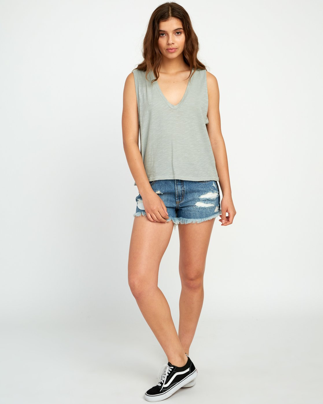 3 Currents V-Neck Tank Top Green W476URCU RVCA