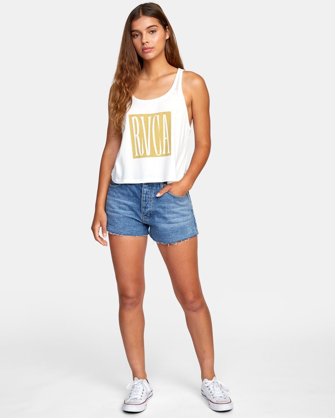 3 Stretched Tank Top White W477WRST RVCA