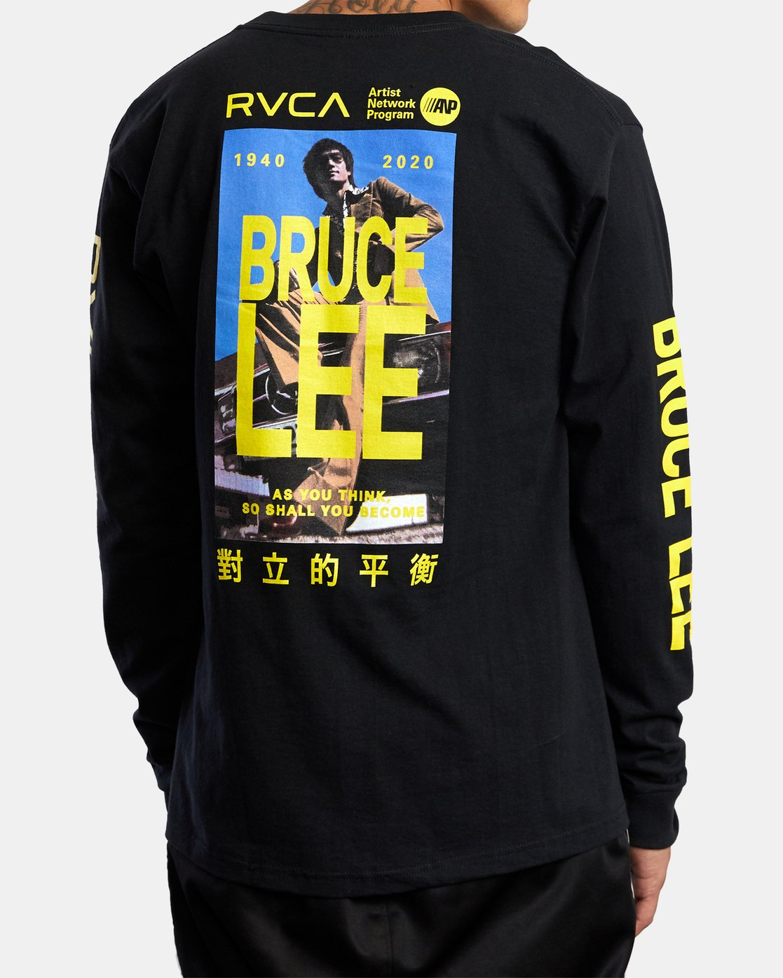 3 Bruce Lee As You Think - Long Sleeve T-Shirt for Men Black W4LSMERVP1A RVCA