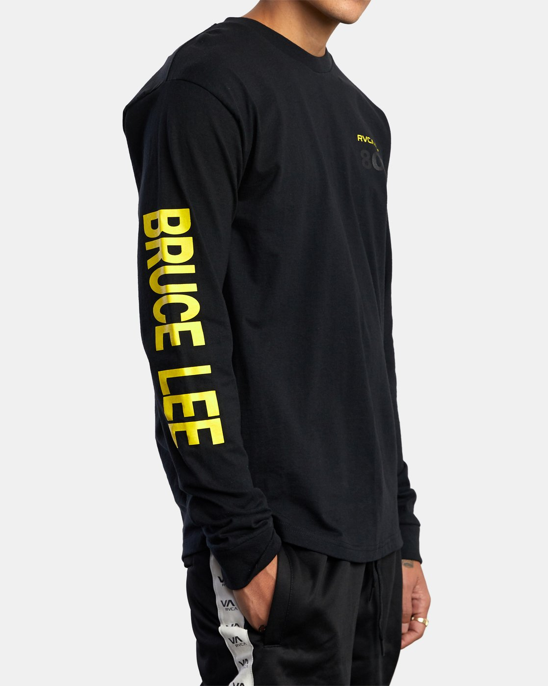 6 Bruce Lee As You Think - Long Sleeve T-Shirt for Men Black W4LSMERVP1A RVCA