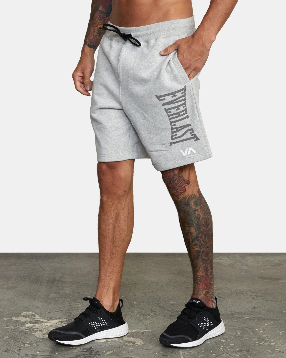 3 Everlast x RVCA - Sweat Shorts for Men Grey W4WKMGRVP1 RVCA