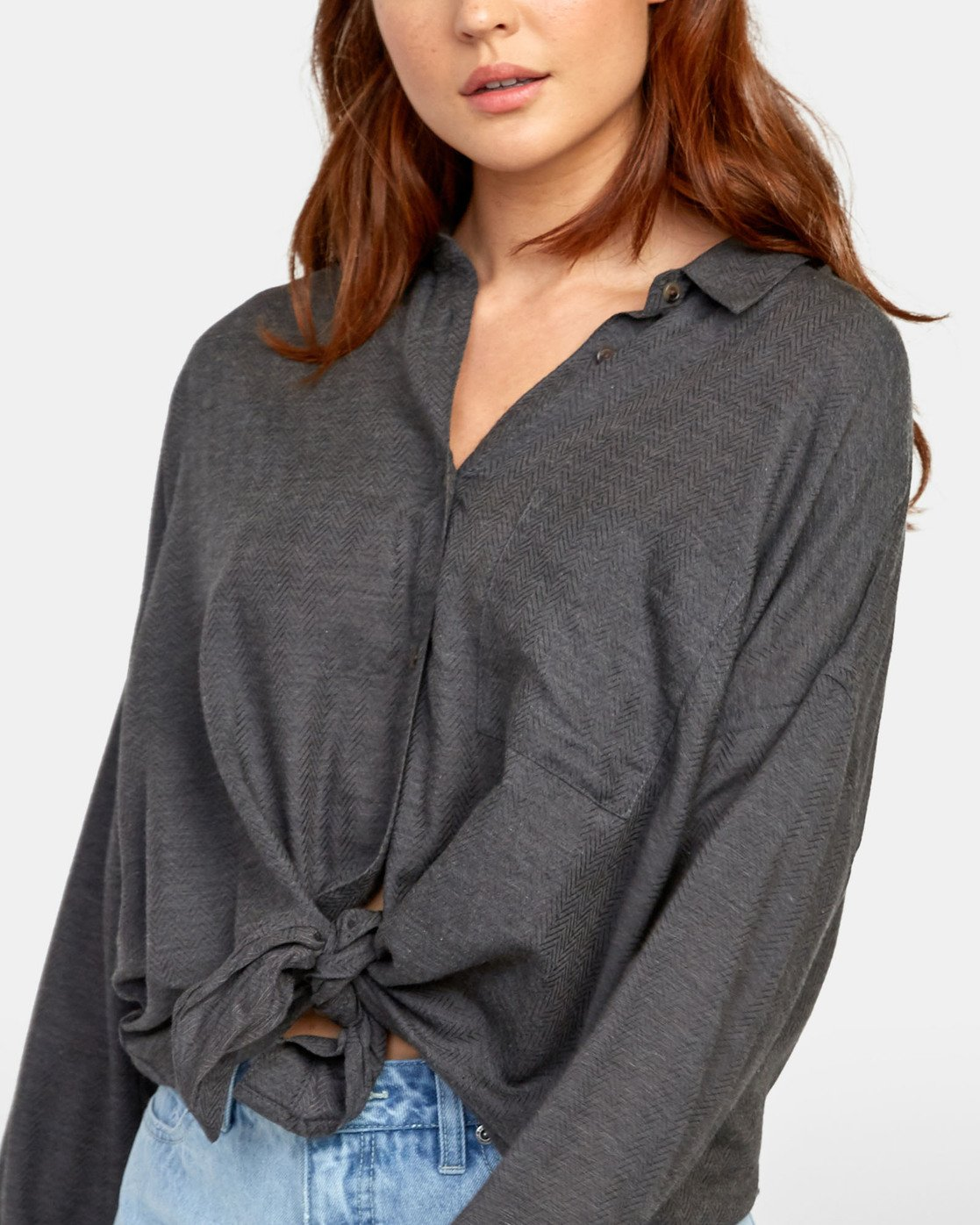 5 HABIT OVERSIZED BUTTON-UP SHIRT Black W5011RHA RVCA