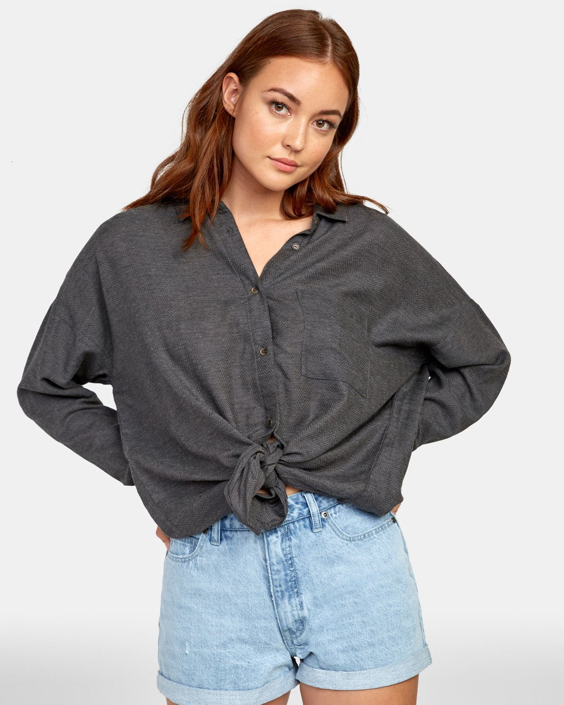 1 HABIT OVERSIZED BUTTON-UP SHIRT Black W5011RHA RVCA