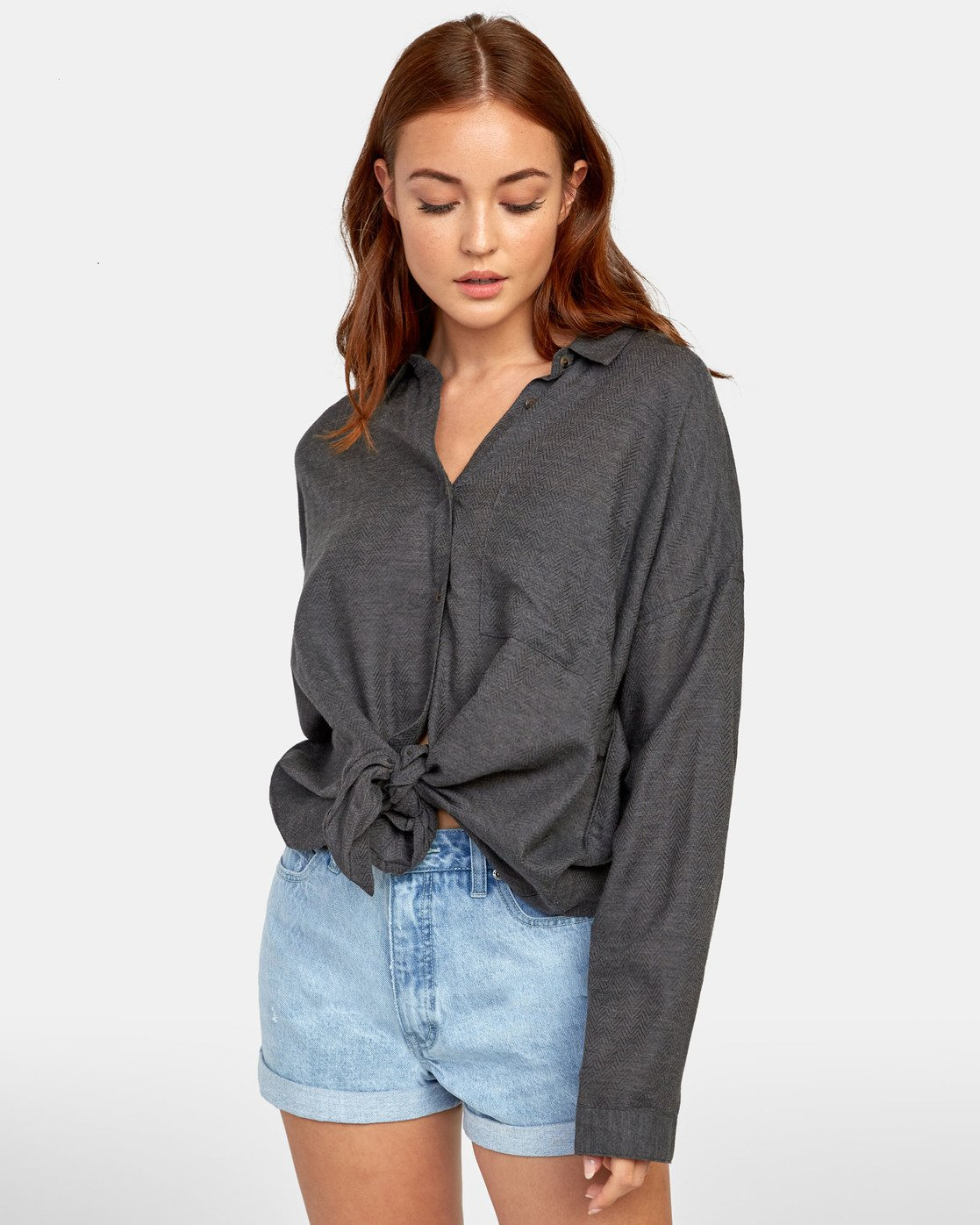 2 HABIT OVERSIZED BUTTON-UP SHIRT Black W5011RHA RVCA
