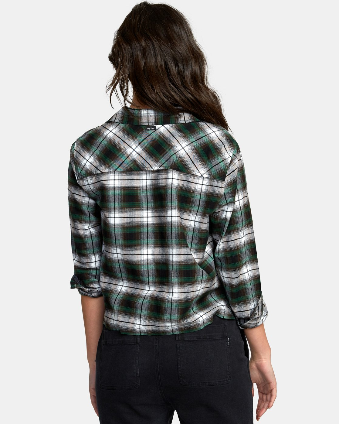 1 Daten Plaid Button-Up Shirt Black W501WRDA RVCA