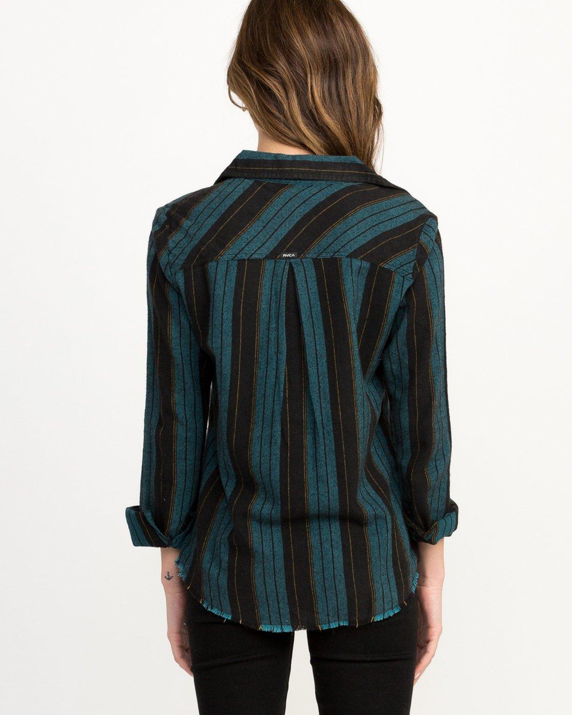 2 Arch Striped Button-Up Flannel Top Blue W502QRAR RVCA
