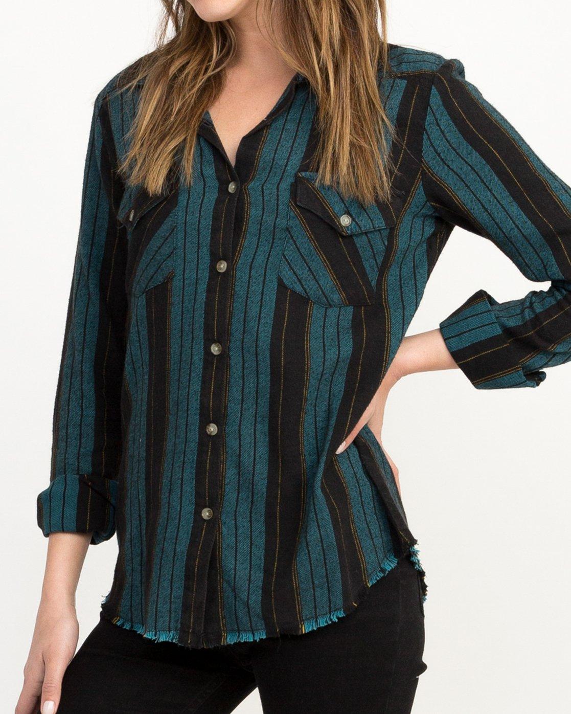 3 Arch Striped Button-Up Flannel Top Blue W502QRAR RVCA