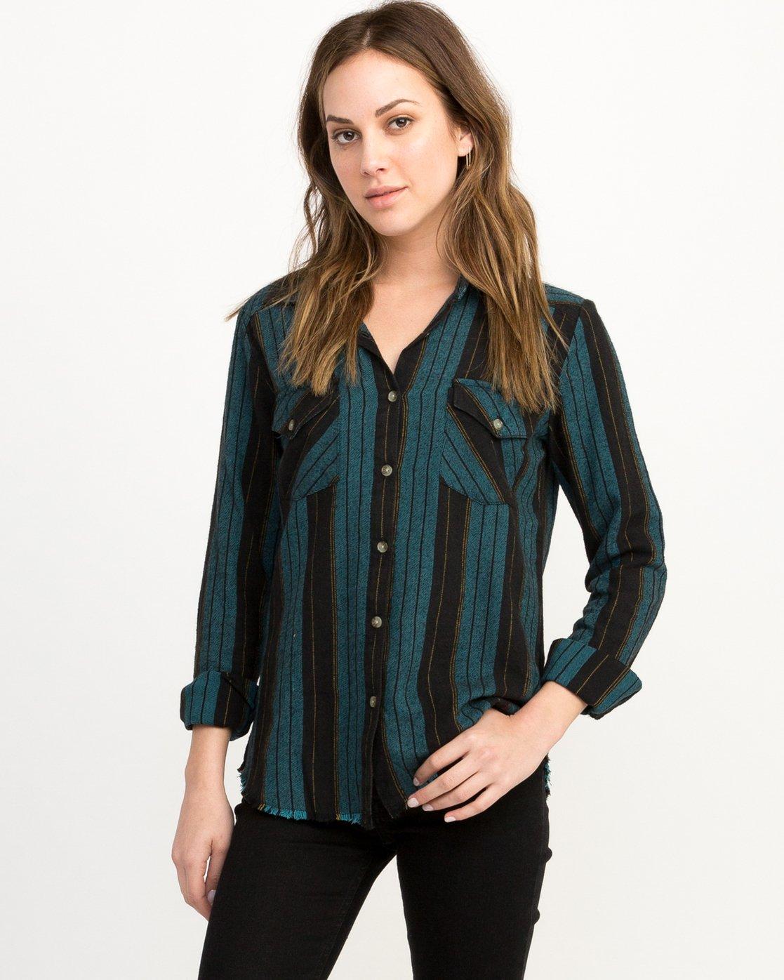 0 Arch Striped Button-Up Flannel Top Blue W502QRAR RVCA