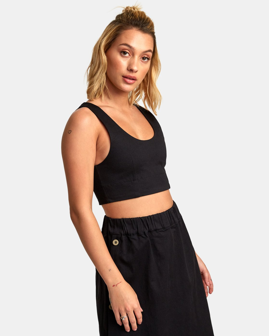3 Projection Woven Crop Top Black W502WRPR RVCA