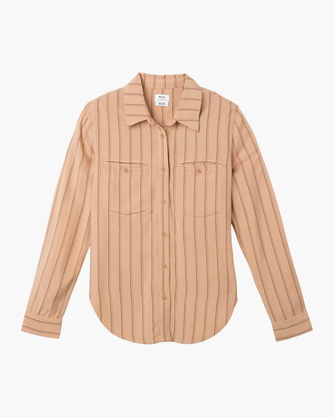 6 Boarding Now Woven Button-Up Shirt Beige W504TRBN RVCA