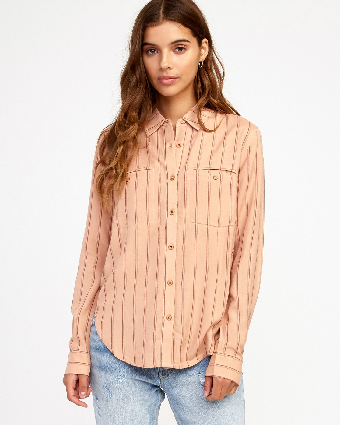 0 Boarding Now Woven Button-Up Shirt Beige W504TRBN RVCA