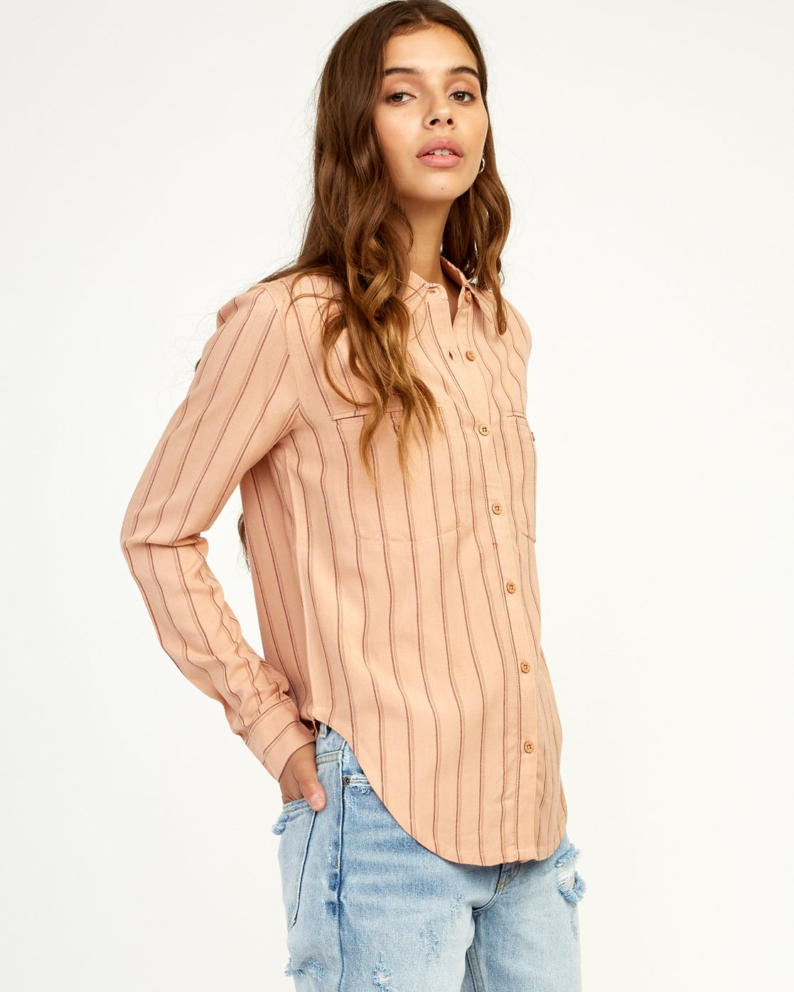 2 Boarding Now Woven Button-Up Shirt Beige W504TRBN RVCA