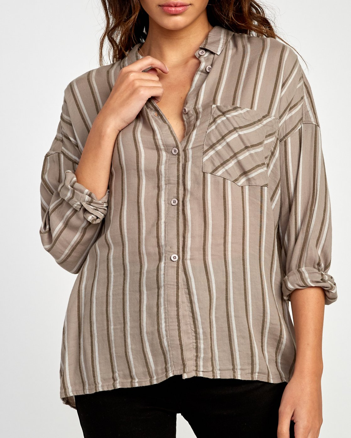 3 Hera Oversized Button-Up Shirt Grey W504VRHE RVCA