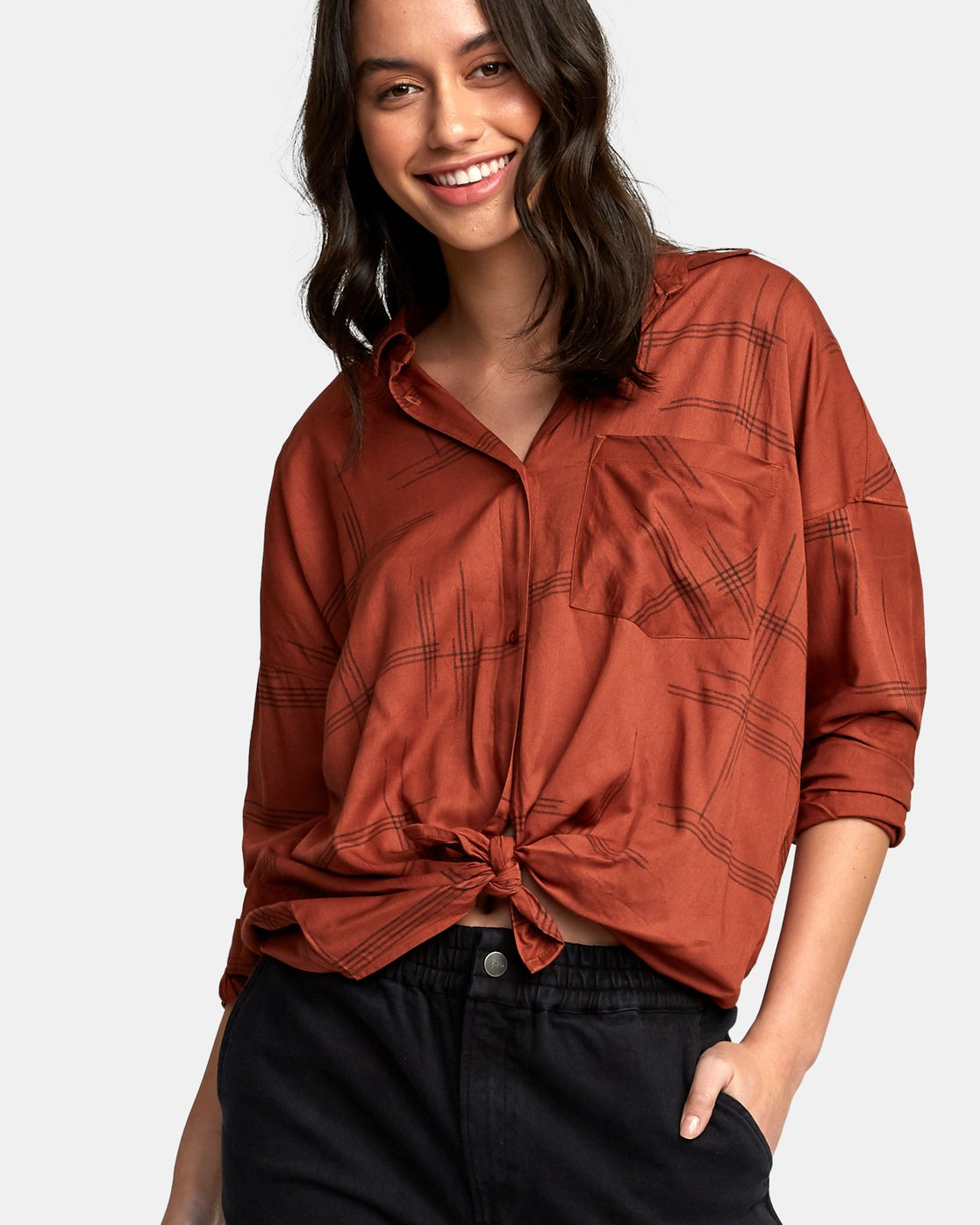 3 Hera Oversized Button-Up Shirt  W504WRHE RVCA