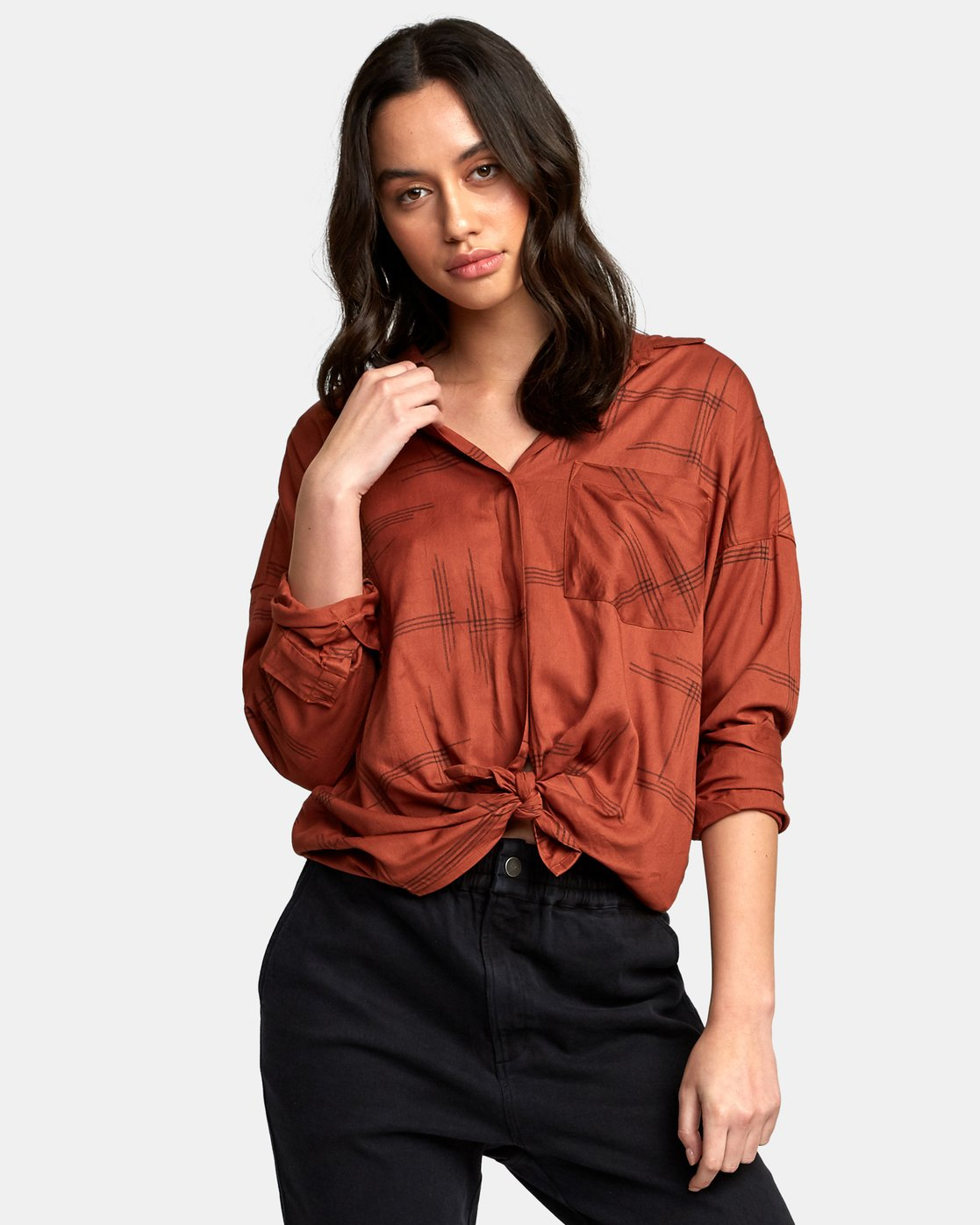 1 Hera Oversized Button-Up Shirt Red W504WRHE RVCA