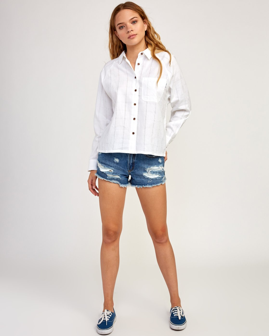 5 Winging It Woven Button-Up Shirt White W507TRWI RVCA