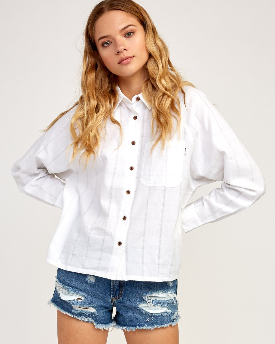 1 Winging It Woven Button-Up Shirt White W507TRWI RVCA