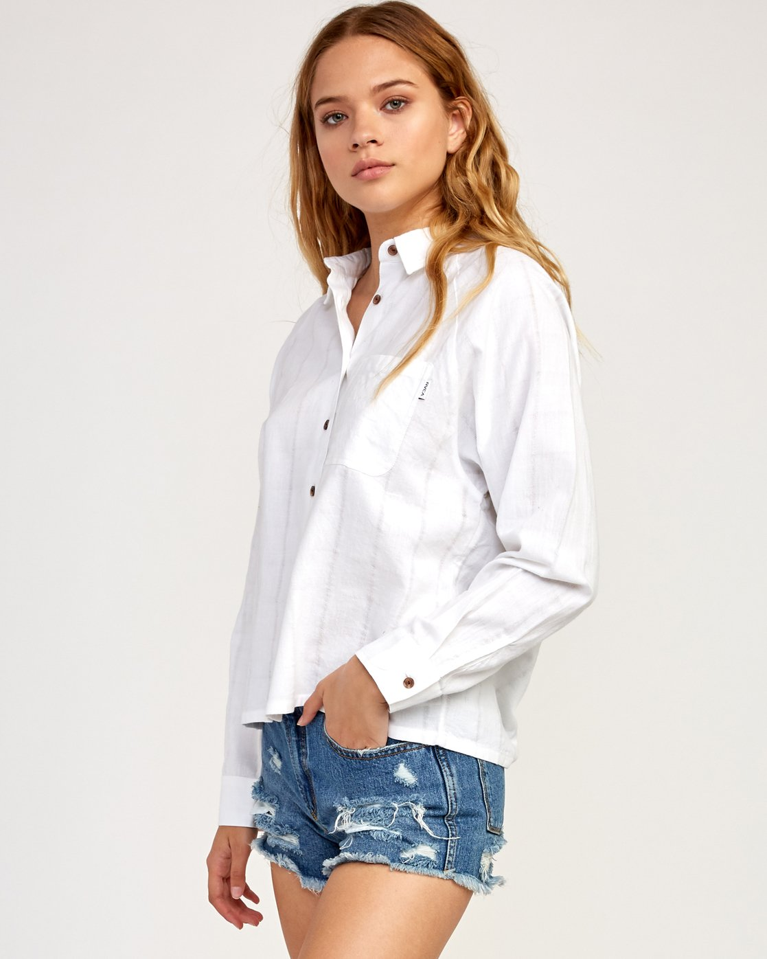 2 Winging It Woven Button-Up Shirt White W507TRWI RVCA