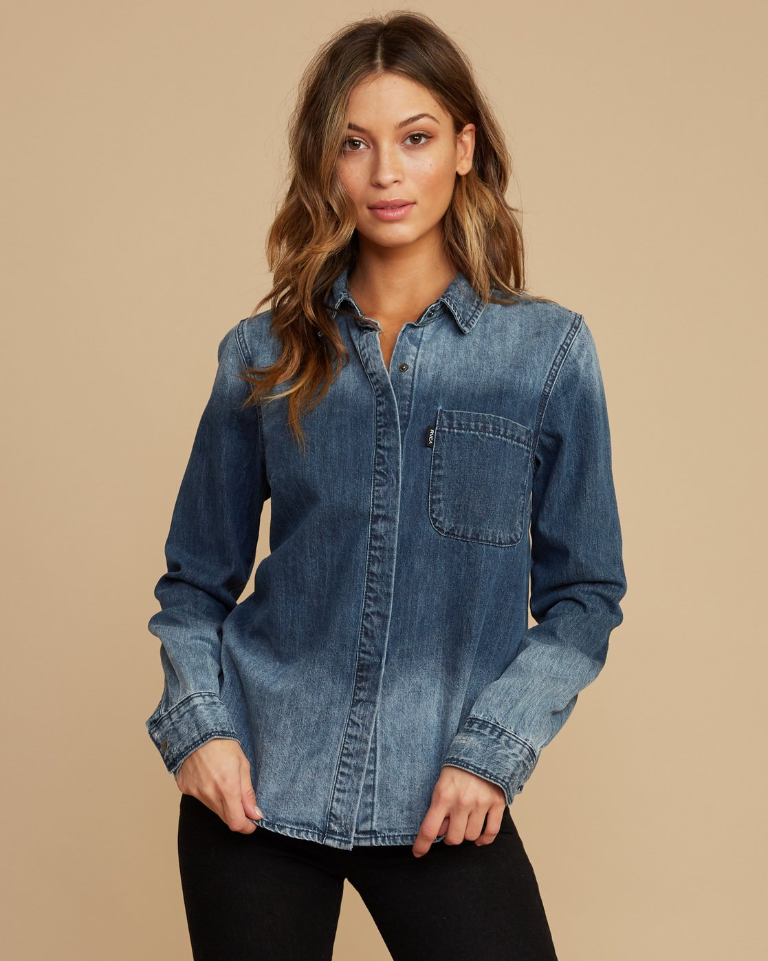 0 Unearthed Washed Denim Shirt  W508QRUN RVCA