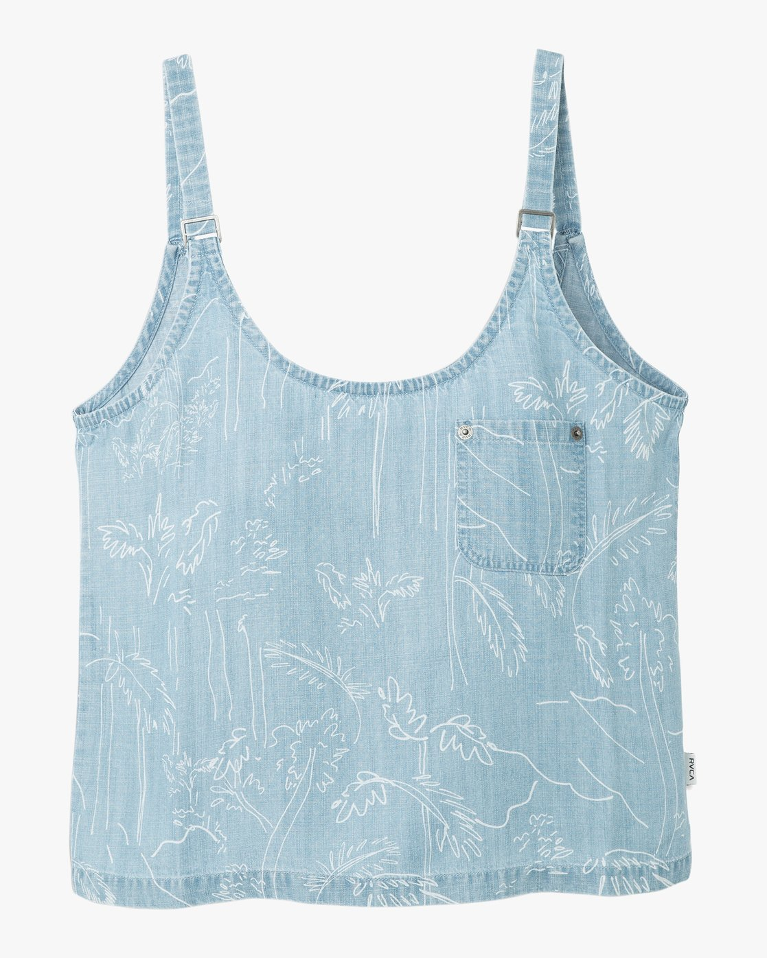 RVCA Womens Collector Printed Chambray Tank Top