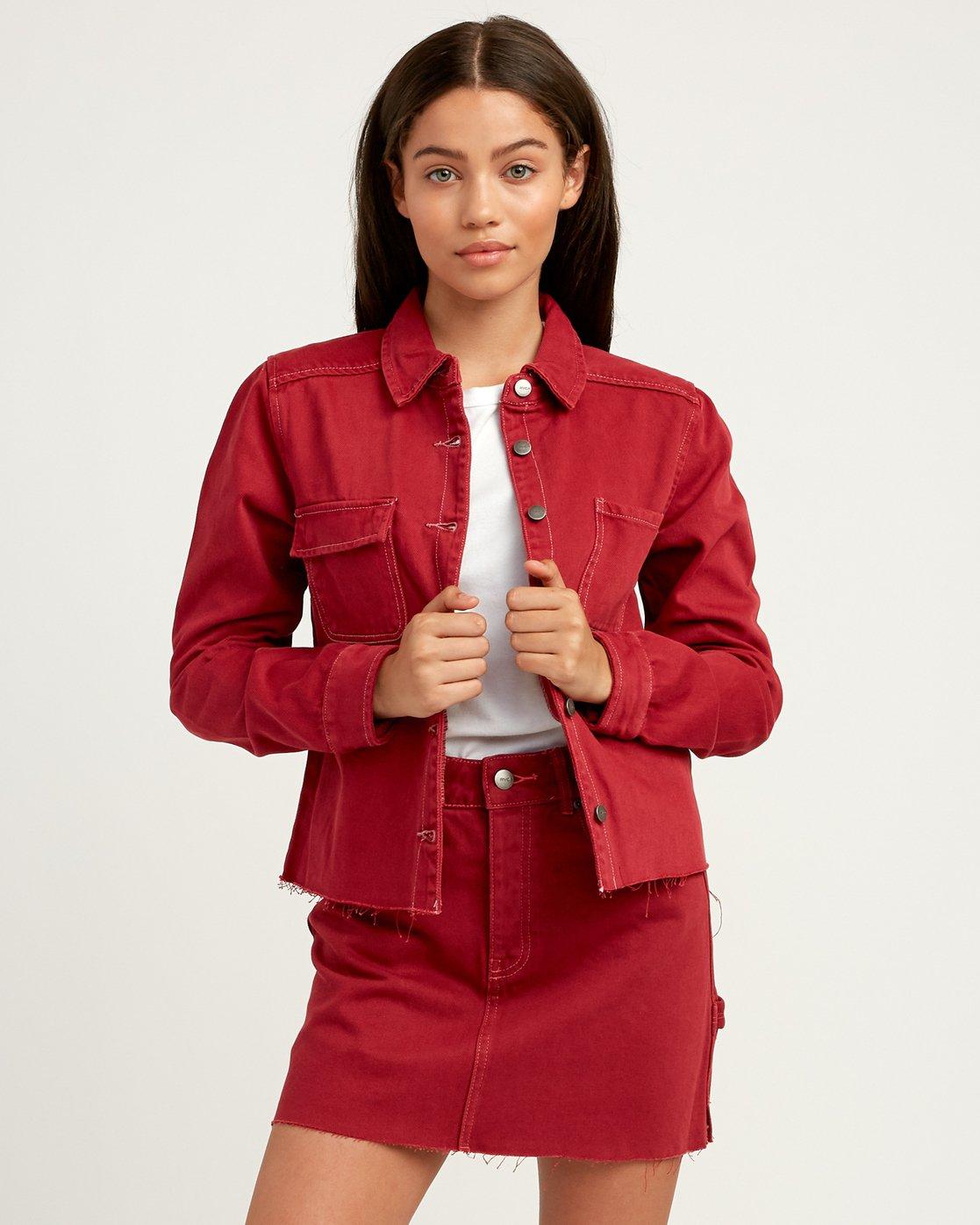 0 Daze Denim Button-Up Top Red W509QRDA RVCA