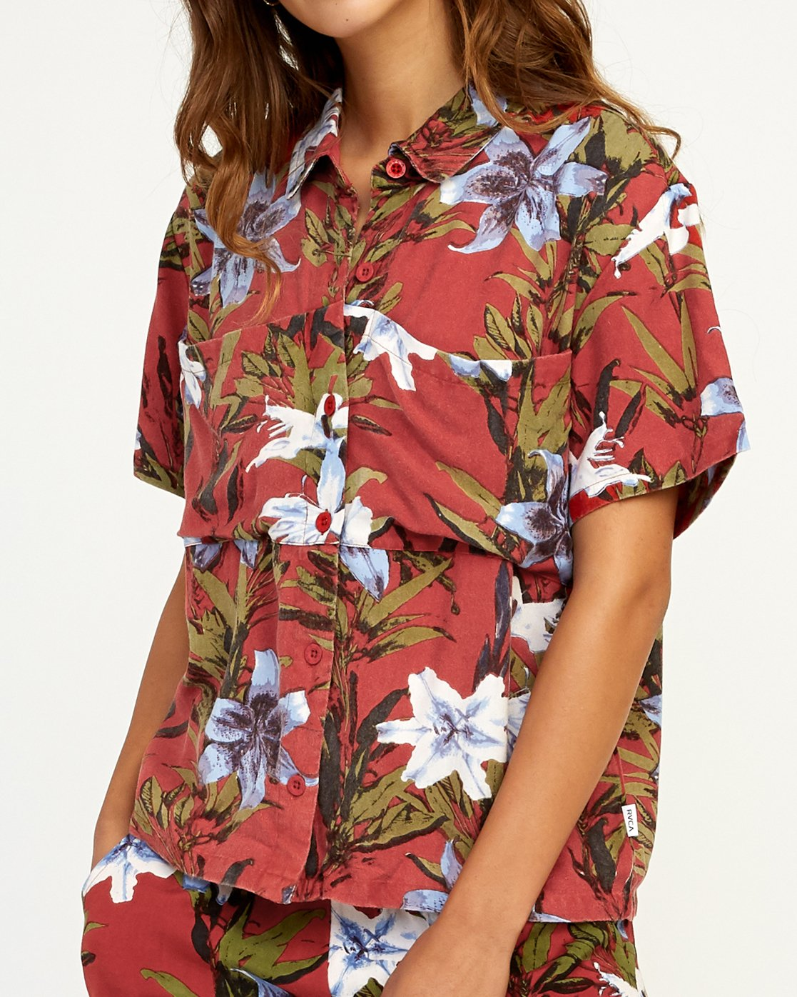 3 Adventure Club Floral Button-Up Shirt Red W509TRAC RVCA