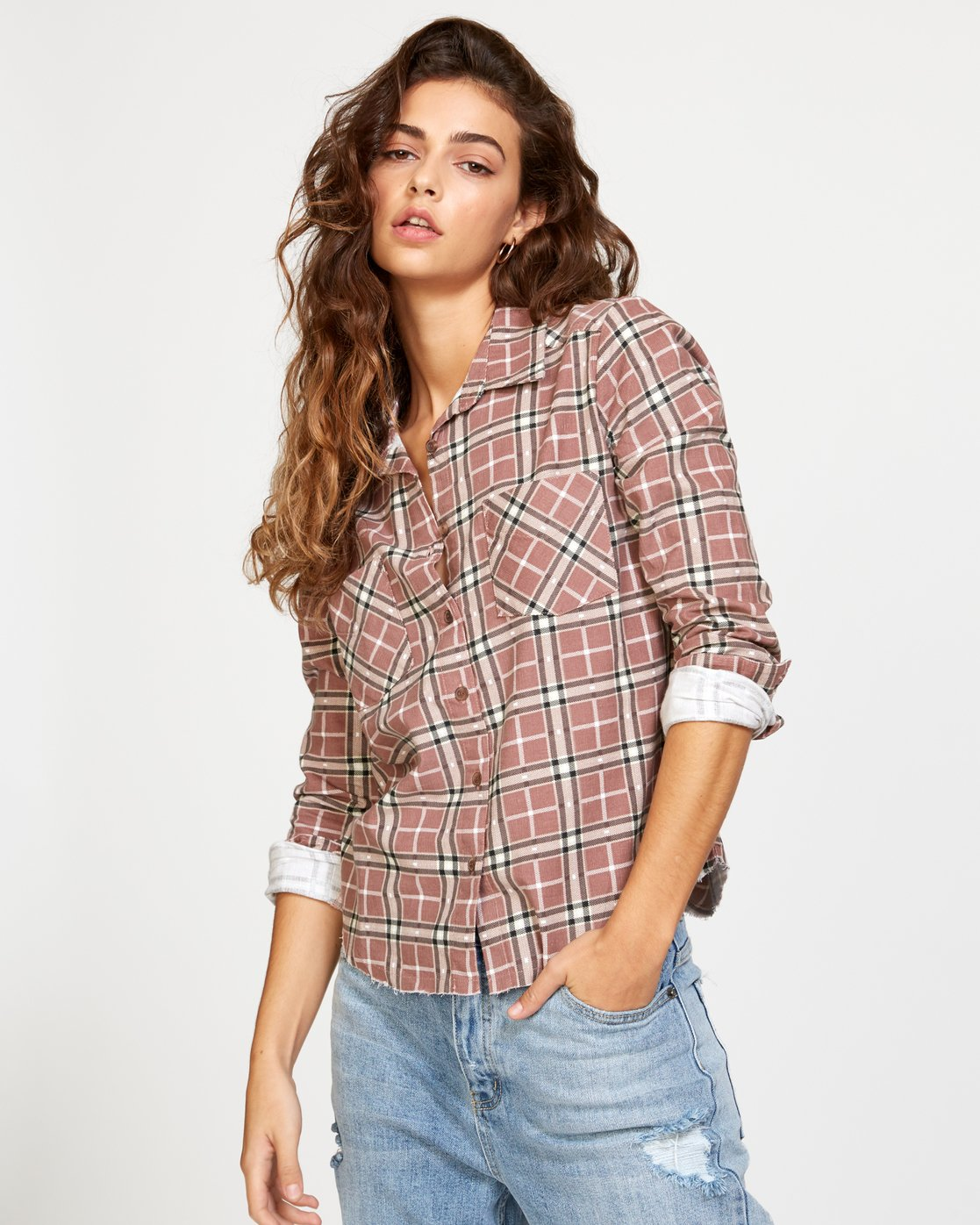 2 Jord Corduroy Plaid Shirt White W509VRJC RVCA