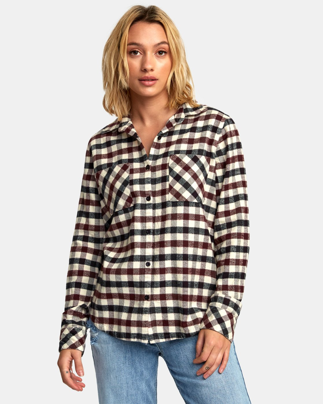 1 Aspen Plaid Flannel Shirt Black W509WRAS RVCA
