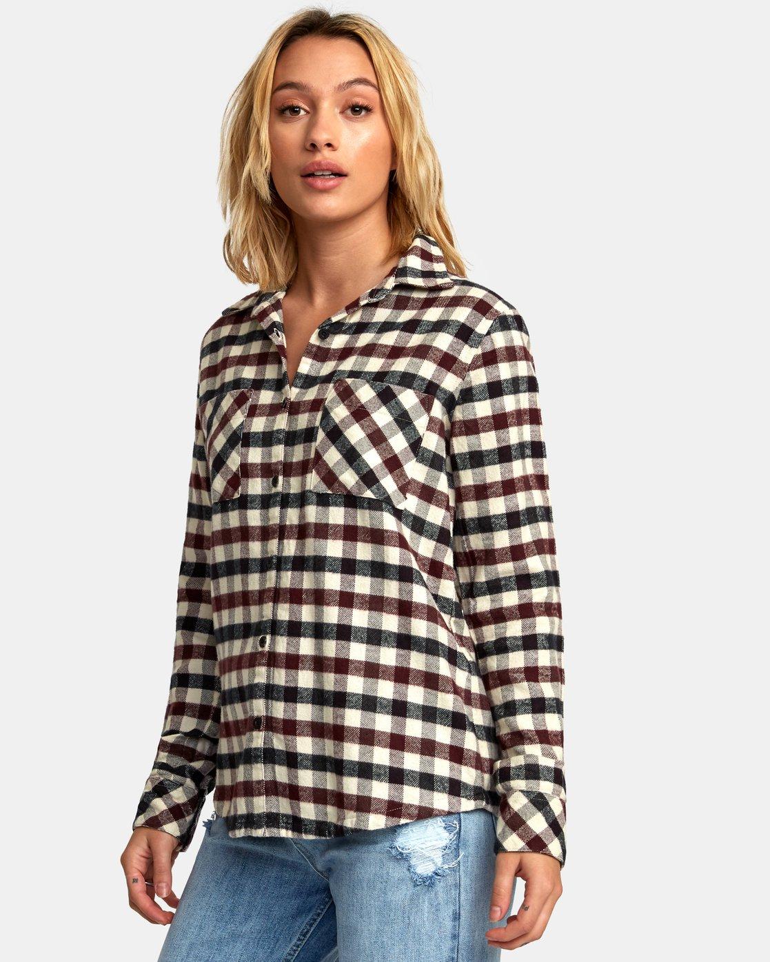 3 Aspen Plaid Flannel Shirt Black W509WRAS RVCA