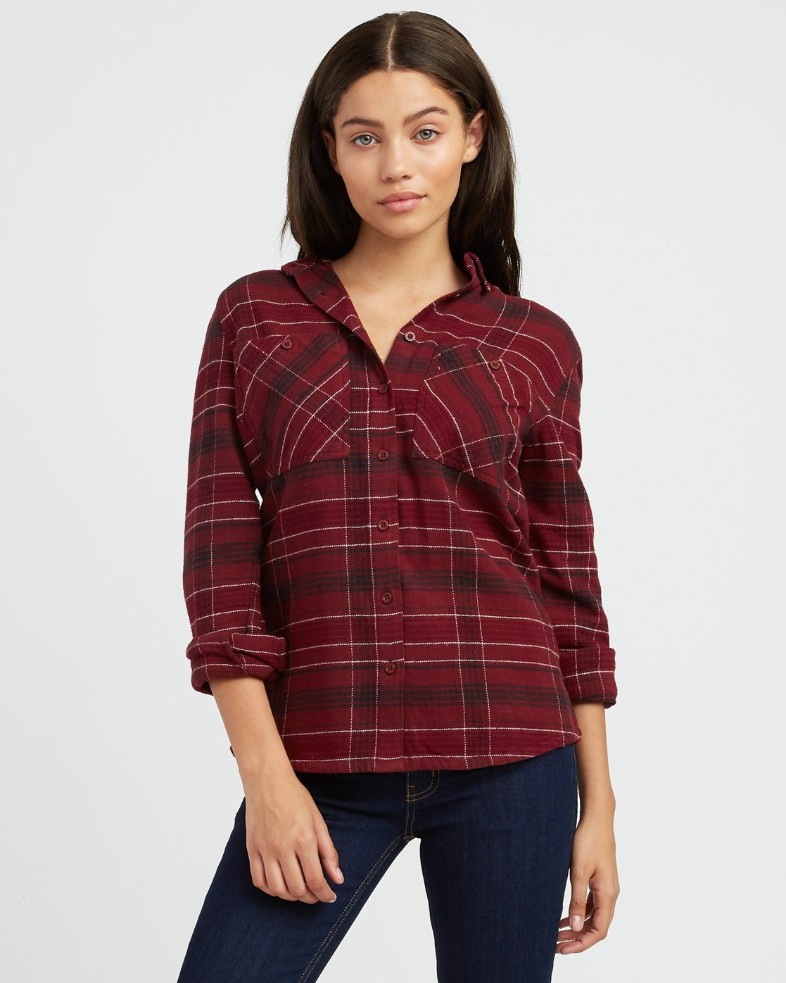 0 Roam Plaid Flannel Pink W510SRRO RVCA