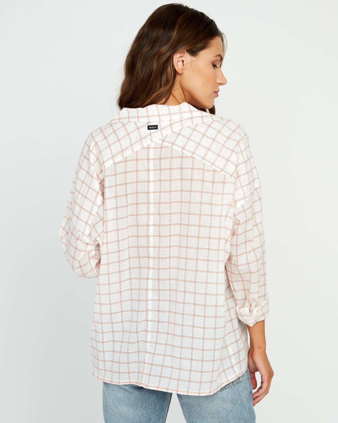 3 Charlie Grid Button-Up Shirt White W512URCH RVCA