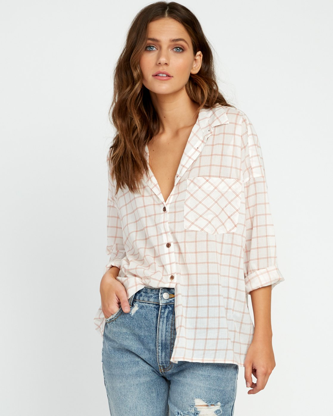 0 Charlie Grid Button-Up Shirt White W512URCH RVCA