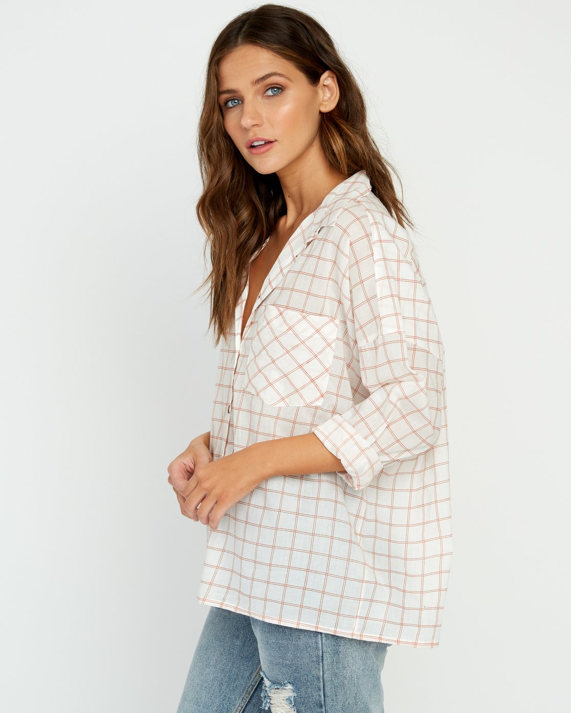 2 Charlie Grid Button-Up Shirt White W512URCH RVCA