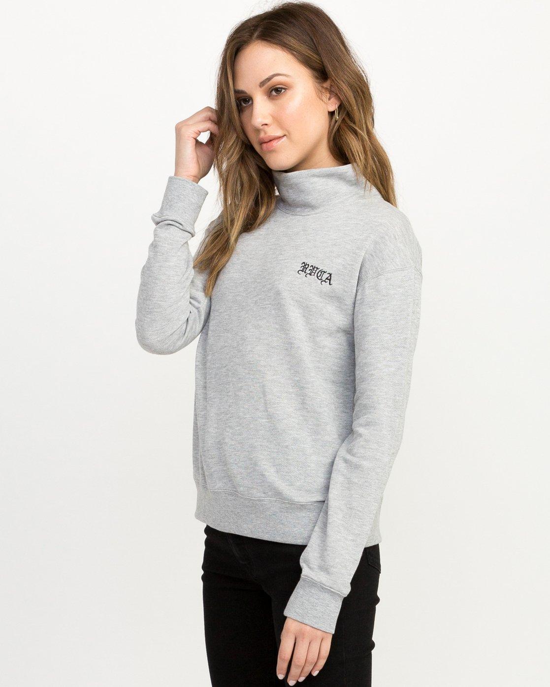 1 Bert Krak OE Mock Neck Sweatshirt Grey W615QRBE RVCA