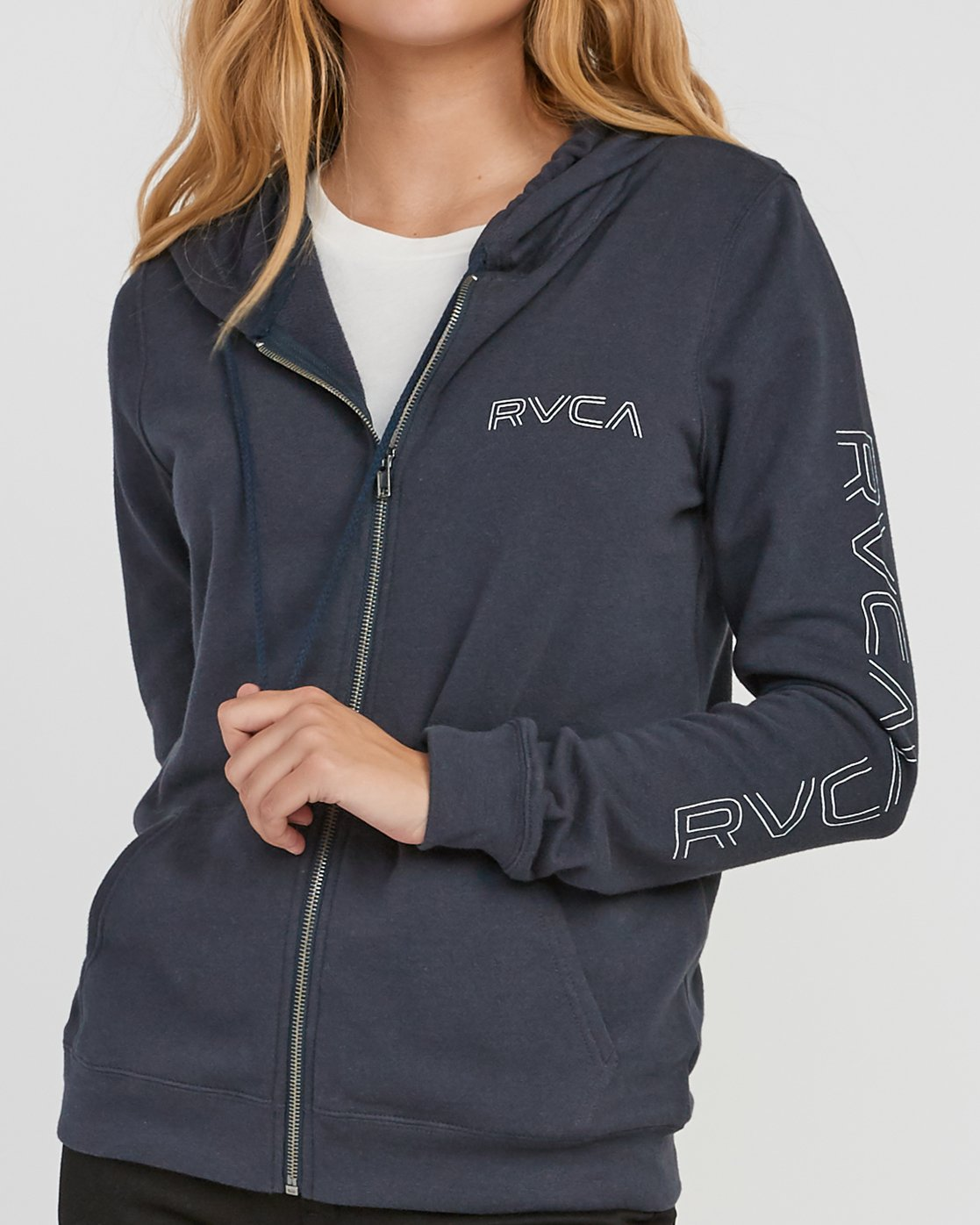 3 Pinned Zip Up Hoodie Grey W616SRPI RVCA