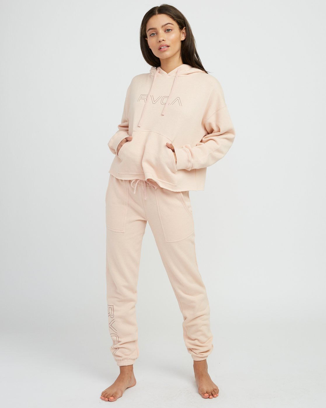 4 Pinner Cropped Hoodie Pink W621SRPI RVCA